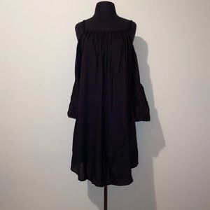 FEATHERS BLACK EMBROIDERED COLD SHOULDER DRESS 1X